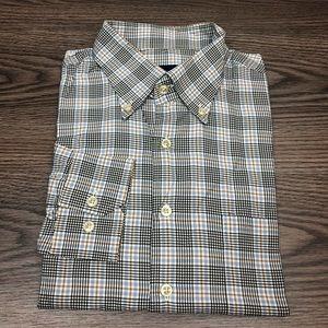 Scott Barber Blue, Tan & Navy Plaid Shirt L